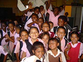 Belize School Children at Lady of Fatima Primary School in Roaring creek, Belmopan, Belize